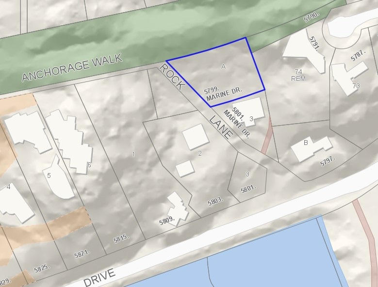 12,568 square foot residential lot in Eagleridge / Eagle Harbour, off ROCK LANE (see map). RS-4 single family zoning. Great water views once some trees are removed. Property backs onto ANCHORAGE WALK GREENBELT. All services accessible and available. Environmental Development Permit Application in place, and Arborist Report is available. Vehicular access is limited. Please do not go up private driveways for 5801/5803 Marine Drive. Contact realtor for access directions. Priced far below assessed and appraised values!