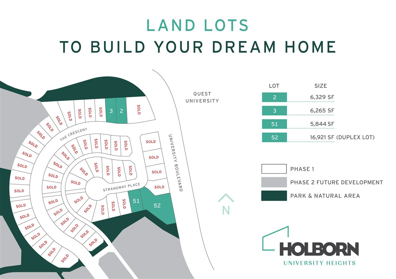 GREAT OPPORTUNITY to own the last lots of Holborn University Heights Phase 1. Just released for sale this week, the lots are perched at one of the highest points in the neighborhood; yet conveniently situated within minutes to the centre of town. Phase 1 is one of the most sought after consolidated developments in the Squamish community, across the street from Quest University. Three of the lots can accommodate a single family house; We have already developed home designs for these lots, should you be interested in using them. The final lot is perfect for a duplex. You will have unmatched access to biking and hiking trails, a golf course nearby, walking distance to Coast Mountain Private School and Garibaldi Elementary, and a shopping mall 5 min away ? all with Spectacular Views! ""