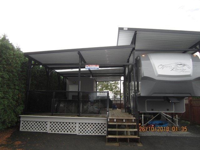 The Everglades Resort on Hatzic Lake - Beautiful User Area with a 2013 'Open Range Roamer 5th Wheel' (stunning) on a very private lot with a 32 x 16'5 deck, covered with an aluminum awning (Black Trim) and shed. Goes with 5th Wheel package and furniture inside and out... Nicely set up. Lots of work done on this lot.... a 10 Plus. Just pack up and enjoy!!!! The Everglades is a gated community with clubhouse, common area, parks playground and private boat launch. Lots of fun to be had boat, swim, fish and close to Sandpiper Golf Course and many other activities. Only 1 hour and 15 minutes from Vancouver. Fees including taxes are $1467 per year. Why go camping elsewhere, own your very own get away.
