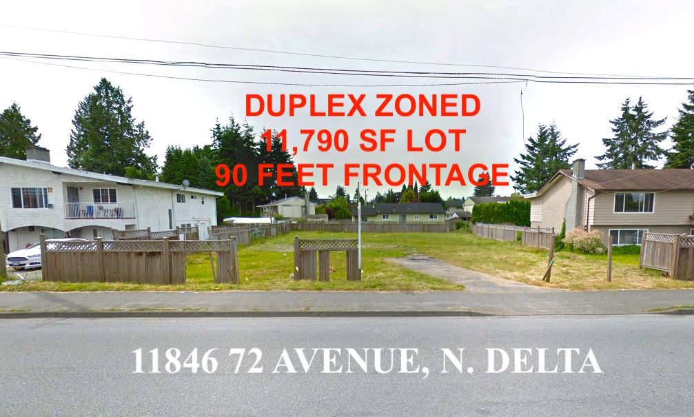 PRIZE FOR THE WISE! Grab the opportunity- great potential and what a location!! Rare massive 11,790 SF lot zoned for a duplex! Lot has been cleared (no house), there are no trees on the property. incredible location! Whether insuring a car or grabbing your morning coffee- everyday essentials are within a few minute walk! 3 minute drive to Cineplex for a family movies night. Dining out? White Spot, Spice 72 and other restaurants are just a couple of minutes away- you can just walk there! don't miss this incredible occasion! Heath Elementary and desirable Sequam Secondary catchment. All measurements and details are approximate and buyer or buyer's realtor should verify if deemed important.