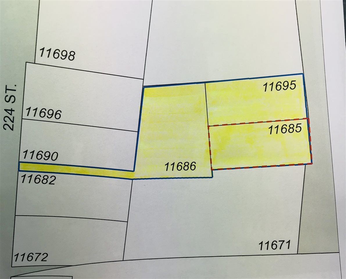 11685 & 11695 Fraser & 11686 224th Street. Rezoning and Subdivision potential on this 2/3 Acre site in Downtown Maple Ridge comprised of 3 separate titles (2 properties with small rental homes, 3rd property is vacant). Current designation on O.C.P. is GOMF (Ground-Oriented Multi Family) but the city may support rezoning to higher density. Walking distance to Shopping, Parks, Recreation Centre, and Port Haney West Coast Express Station. Great package providing some rental while you take it through the rezoning process. Strata projects in this area are selling out during the construction phase, call Listing Realtor for more info.