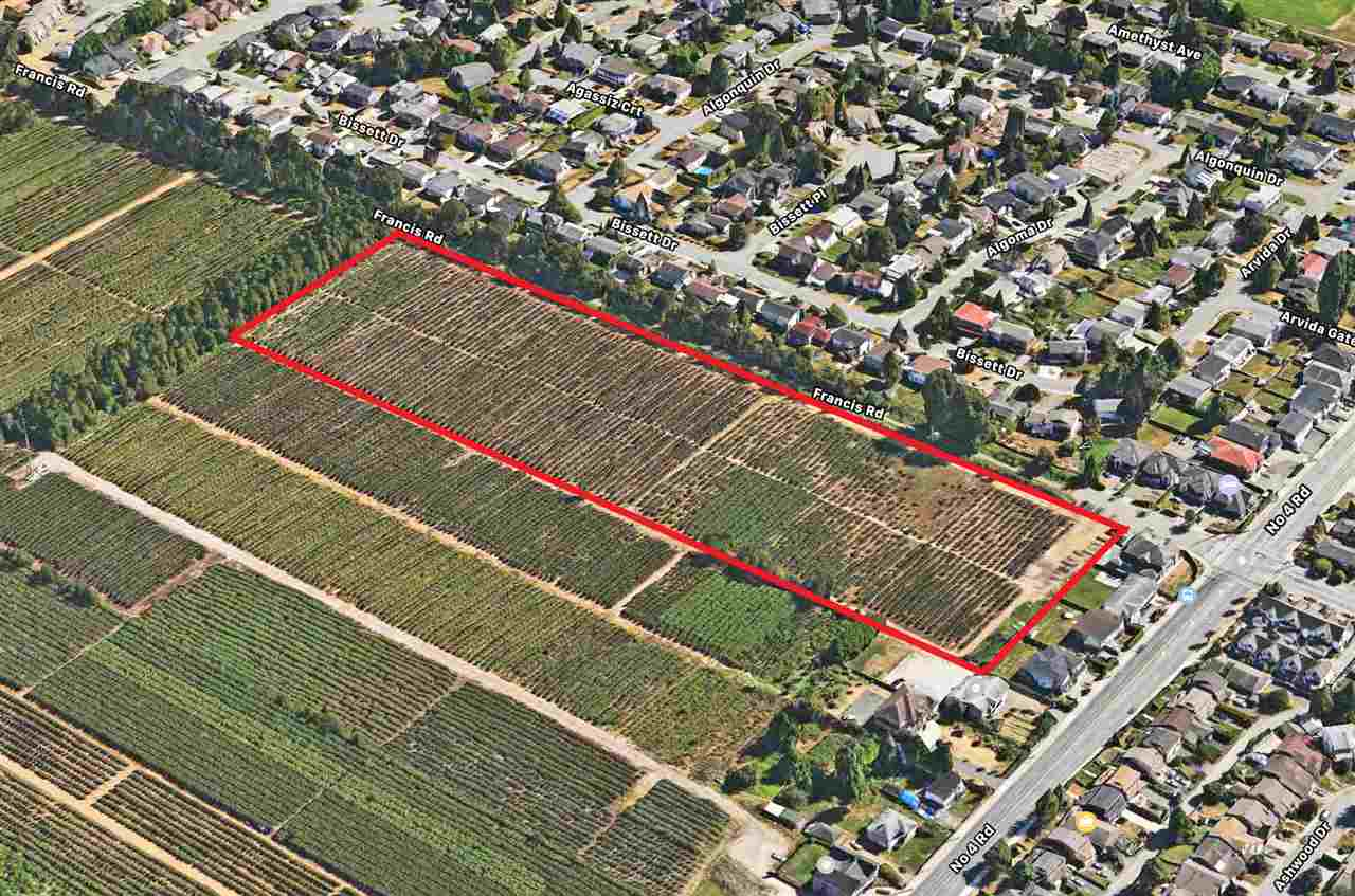 Rare opportunity to own this 9.08 acres blueberry agricultural land with wide 1,180' frontage on Francis Road and 335' depth at fast development No 4 and Francis Road area! Excellent holdings or build your dream estate home property with future potential. Lots of new house and townhouse development at surrounding area! Good quality blueberry farm leased at $6,000 per year. It is considered the best holding agriculture land in Richmond for future potential!