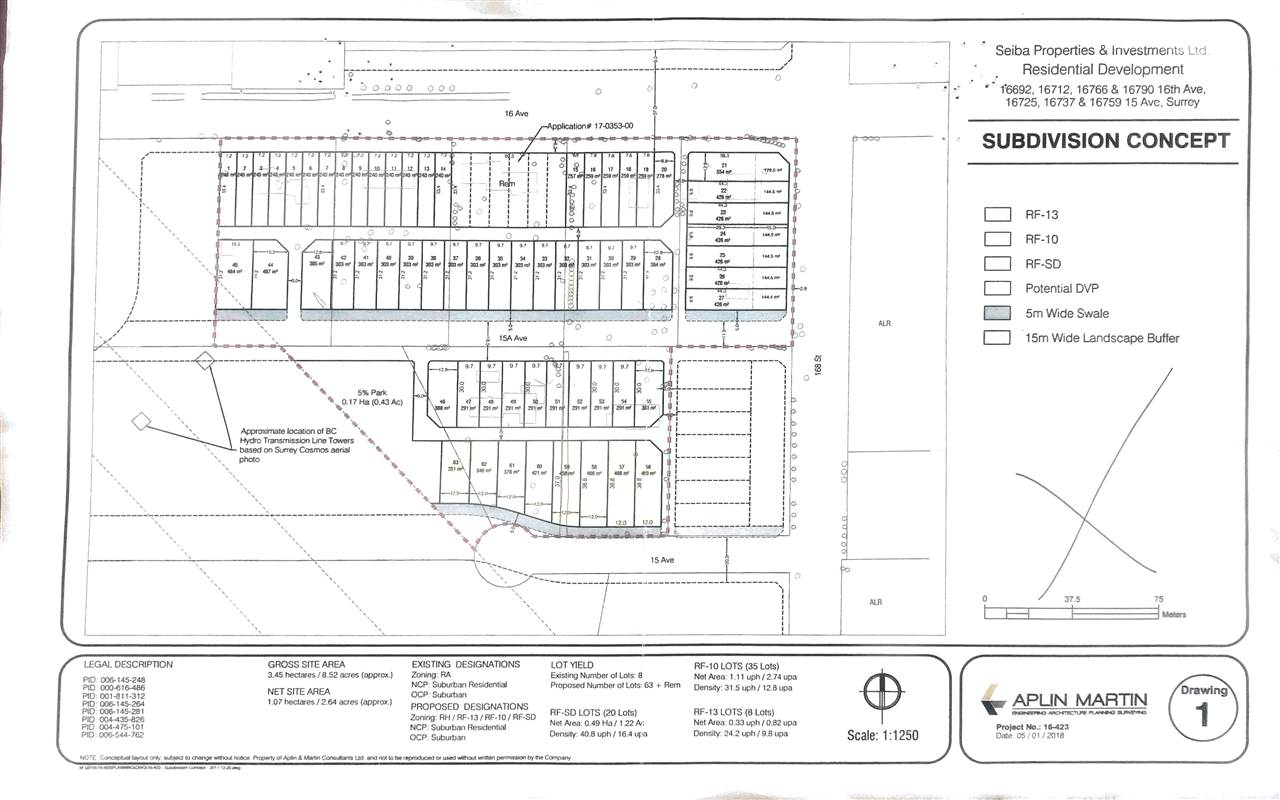 6 properties combining for a total of 58 lots with PLA. LS has estimated servicing costs etc. Servicing agreement could be had fairly quickly. LAND ASSEMBLY FOR DEVELOPMENT - MUST BE SOLD TOGETHER WITH THE FOLLOWING ADDRESSES: 16790 16 AV, 16712 16 AV, 16766 16 AV, 16737 15 AV , 16759 15 AV.