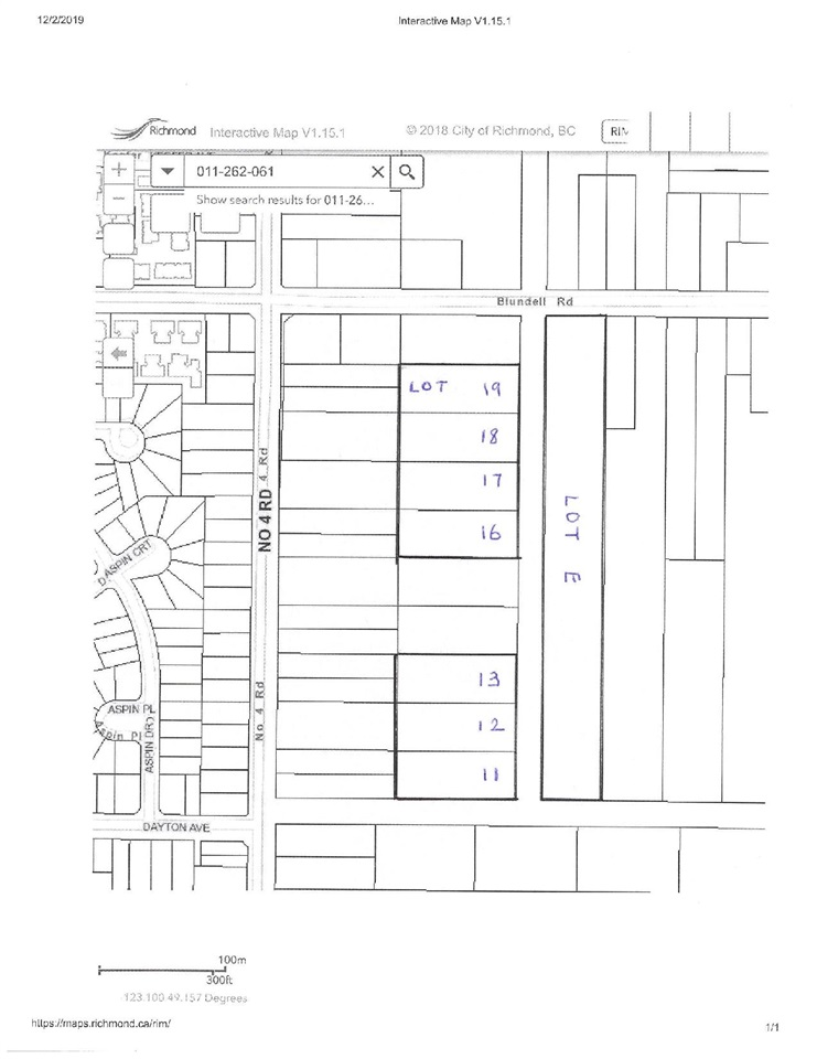 Excellent location east of No. 4 Rd and south of Blundell Rd. Lot size is 125x309 ft (0.886 acre) agricultural land with blueberry plants on the lot. Lots 19, 18, 17, 13, 12, 11 & Lot E are on MLS. Good holding property with long term potential. Access via gravel road south of Blundell Road.