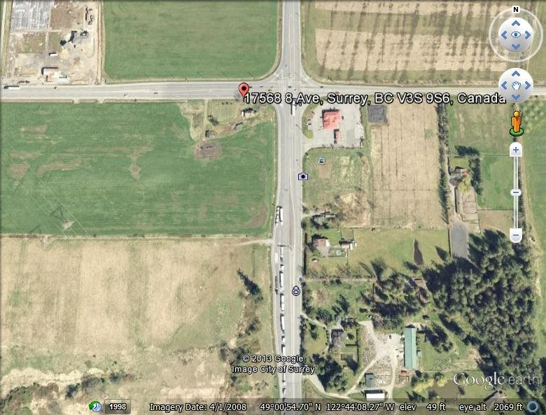 High Profile corner of 176th (Pacific Hwy) and 8th Ave. 17.08 Acre parcel with A1 / ALR status. Note Farm taxes. Great future potential.