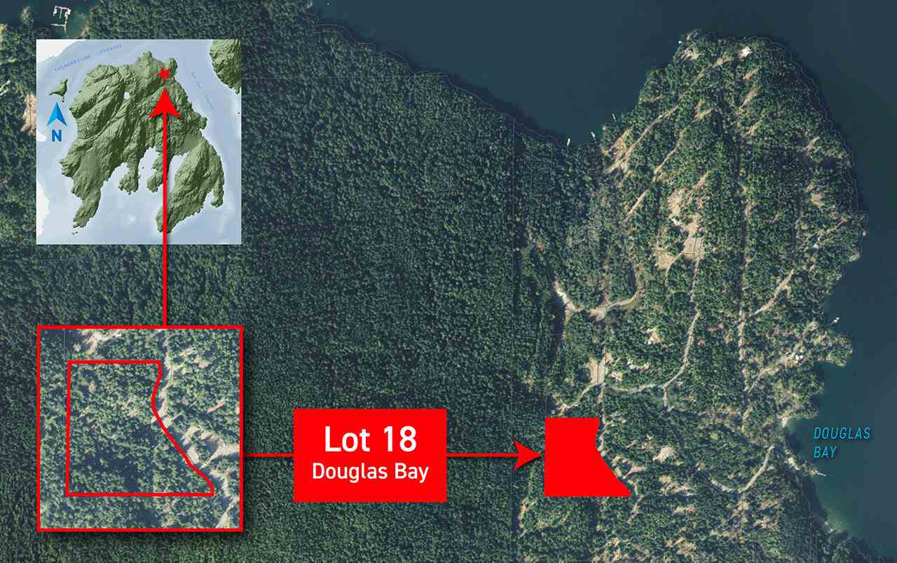 9.9 acre lot on Gambier Island. Douglas Bay is a private, water-access development on the island's northeast point - only a short boat trip from Horseshoe Bay or Sunset Marina. Near beaches and the trail to Gambier Lake. Lot 18 is at the southwest corner of the development and surrounded by parkland. Bright viewpoint on edge of property with outstanding views of Anvil Island, Howe Sound and the North Shore Mountains. Drilled well. A great investment opportunity or for use as an off-the-grid hideaway from city life.