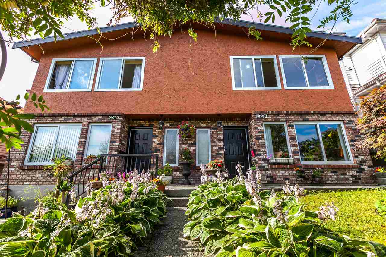 Side by side (4 unit) strata title duplex, 49.5 x 122 RT-2 lot (must be sold together), fab mountain views. Each side contains a top floor 920 sq.ft. 2 bedroom, 1 1/2 bath. suite plus lower floor two bedroom, 1 bath 902 sq.ft. suite for a tot. of 4 self contained units. The build. is in exc. cond. & the suites are very bright (4 skylights, 2 each side), 4 wood burn. f.places & have been updated. New: torch on roof (2016), rear deck & stairs with canopy & skylights (2016), approx. 490 sq.ft. of outdoor liv. space. Upper e.side unit feat. new designer kitch with stone counters, heated floors, new deluxe stainless appliances. Tenanted mth to mth at $4000.00(1354 e.16), owner occupied(1356 e.16). Great investment or extended family or co-owners, plus a mortgage helper.