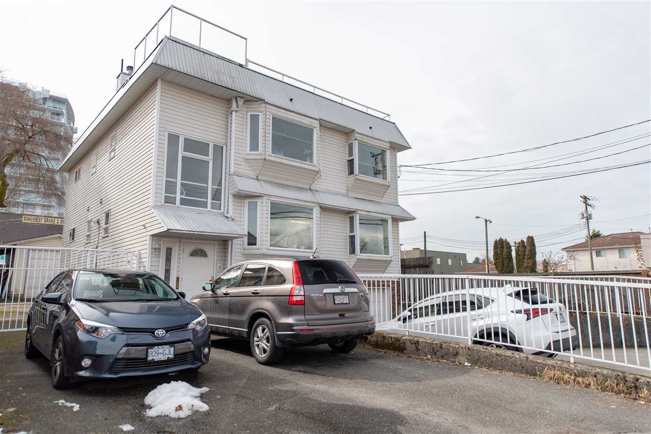 Property MUST be sold along with 2219 Kingsway (details on commercial MLS # C8024608). Legal duplex very well setup for revenue producing but value is in the long term development opportunities when combined with 2219 Kingsway. Buyer to confirm to their satisfaction the current & future possibilities.