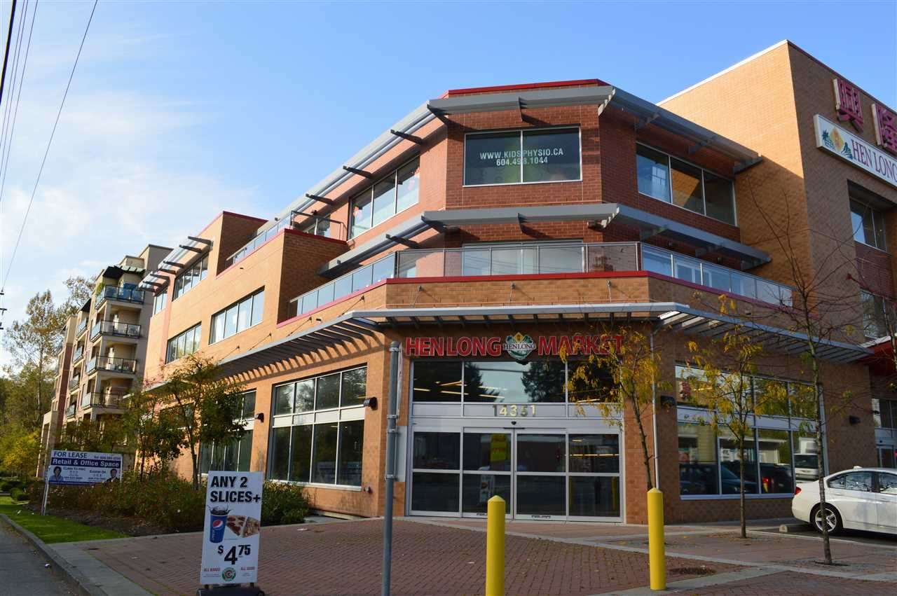 """Prime GUILDFORD location. NEW """"HEN LONG MARKET"""" mixed use concrete building. Brand new 3rd floor office space available from 1,134 - 1,870SF Base rent $15/SF/Annum + $9.00/Additional Rent.   Close to all amenities; only 2KM (less than 5 minutes drive to Skytrain station), 1.5KM to Guildford Town Center, Brand New Swimming Pool & Rec center, library, and highway access, existing tenants including: Law firm, Dentist, Kids Physio, Fresh slice pizza, Spring Foot Wellness Clinic and etc... A lot of walk in traffic in traffic from busy Hen Long Market. A GREAT BUILDING TO START YOUR SUCCESSFUL BUSINESS. DON'T MISS."""