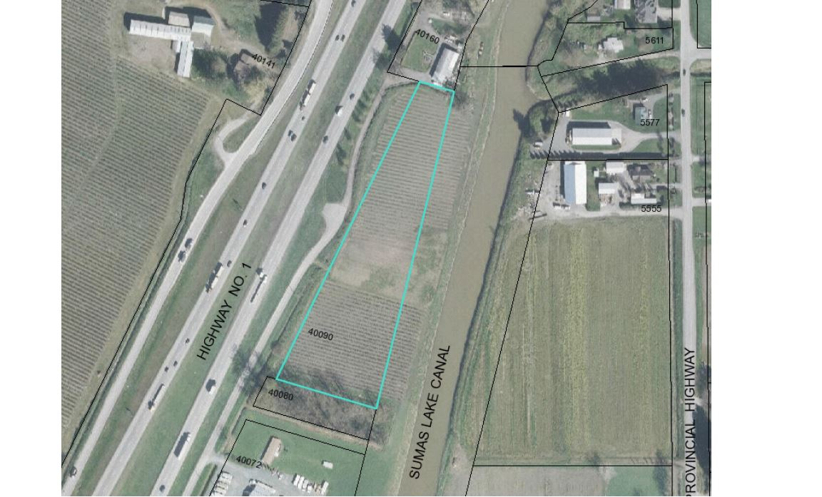 High freeway exposure! New on the market! 3.72 acres of fertile level land in highly desired Abbotsford location. Excellent freeway exposure for your market garden products! Currently planted in +/- 1.5 acres of blackberries and +/- 2 acres of early 2 mid season raspberries.  Incredible farmland & mountain views! Backing onto the scenic Sumas Lake canal. Spectacular property to build your new home & shop.  Only minutes to easy freeway access.  Lots of room to park your rig.  Call today for full details!