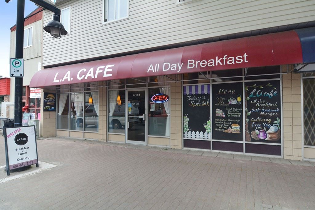Well known & well established Coffee Shop in Aldergrove fronting busy Fraser Hwy. 1,400 SF, Full Kitchen, 45 person seating capacity, Serves Breakfast and Lunch with Built-in steady clientele. Open 6 days/week (6:30am-2pm) & Sundays are closed. Short Business hours & Low rent ($1,642+GST). 20 parking at rear. Excellent family Business with great potential.