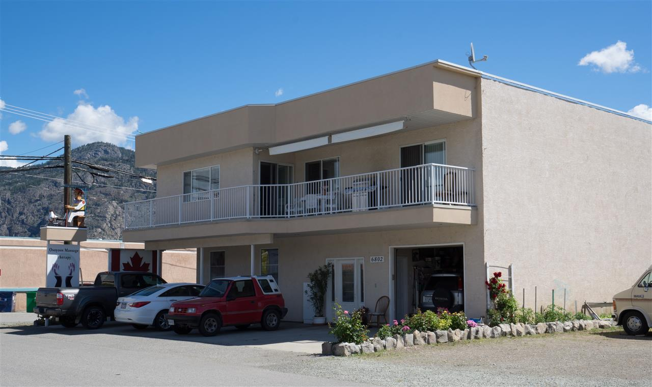 Fantastic investment opportunity in prime Osoyoos location! Freestanding 2004-built non-strata mixed-use building with 4 separate units sitting on a 3,000 sqft lot just steps to Gyro Beach! Lower floor totals 1,656 sq.ft with two rented commercial units of approx. 414 sq.ft each, plus a small unrented bachelor/studio suite, utility room & bathroom. Upper floor consists of a 1700+ sq.ft residential unit currently occupied by the owner. The lower level gross income from two commercial units is $14,400 per annum. Stunning location close to all amenities. Inquire for more details.