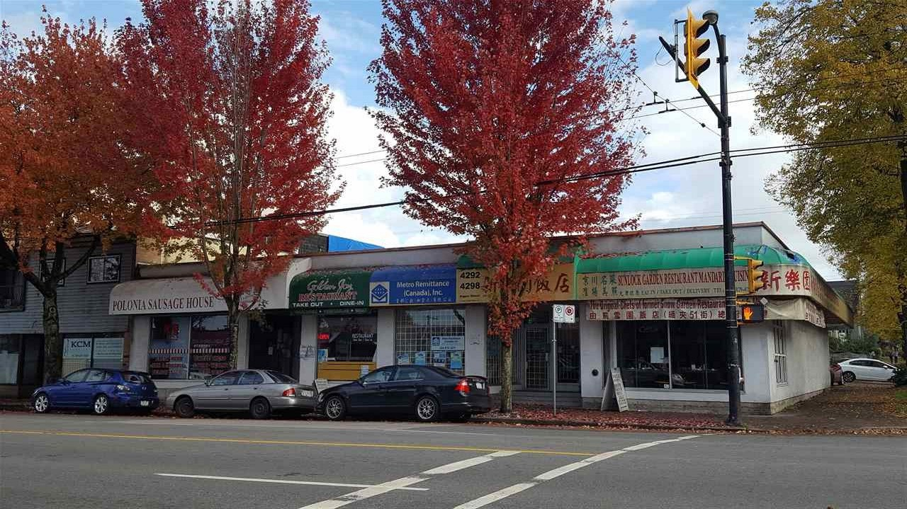 13 years Chinese restaurant at corner of Fraser Street & 27th Ave, 2 blocks south of  East King Edward. A rapid growing area and central location. 50 seats with liquor license.  2-3 reserved parking and street parking. All equipment included.