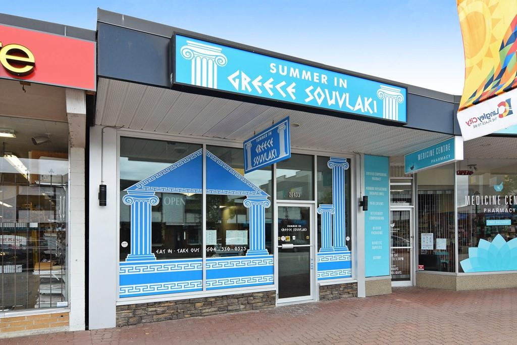 """Summer In Greece Souvlaki"" High Quality Greek Restaurants for sale in Langley City fronting Douglas Crescent. Only 1 year new business with unlimited potential (Opened since Oct 28, 2016). Eat in or take out. 1,295 SF, 25 seating, top quality one year new equipment, full commercial kitchen, 2 handicap washrooms (potential for liquor license),open 6 days/week and Sunday & Holidays are closed. Turn key operation & sales are growing everyday. Could change to different type of restaurants. Purchase price do not include inventory. Please do not approach the seller or the staff. Showing by appointments only."
