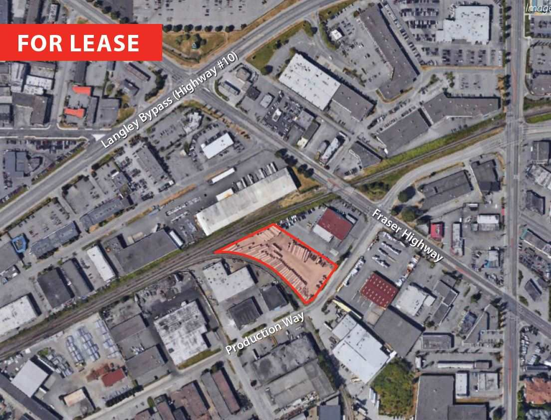 This is an exceptional opportunity to lease 2.53 acres of industrial zoned land, which allows for outside storage, in the heart of Langley City. The lot is partially paved and gravelled, level and provides 2 points of access. Should you require less space, the lot has the potential to be demised for your use. The location provides excellent proximity to Langley Bypass and Highway 1, and is 1 block from public transit. The space is available immediately. Should you have any questions, please call.
