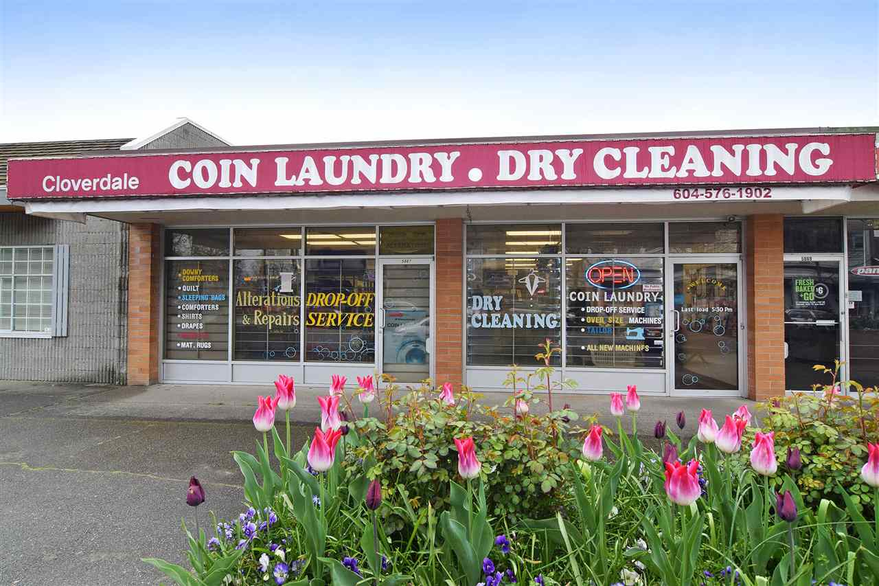 """Business + Strata Unit"", Well established Coin Laundry/Dry Cleaning Business For Sale in busy Cloverdale area. Established since 1983. 25 washers (5 triple, 4 Maxi, 16 front loading) & 20 dryers. Ample parking at rear. Open 6 days/week (9am-7pm) and every Wednesdays are closed. Good income, easy to run a turn key operation. Could add on alteration for added income. Please do not disturb the Seller or the Staff. Showings by appointment only."