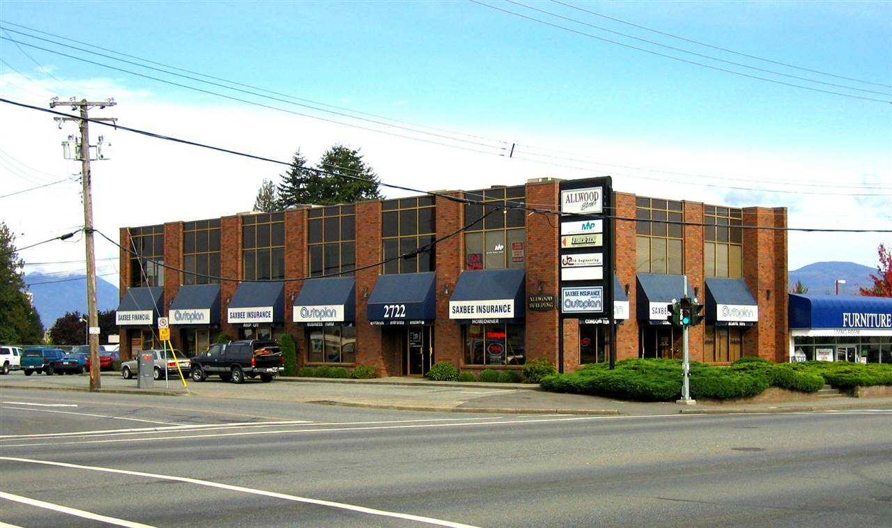 """South Fraser Way location (across from London Drugs). Rare affordable office space on Abbotsford's """"golden mile"""". the space is demised into 2 offices, a lunch room and a small waiting area. Base Rent & *Additional Rent $1,125 per month + GST. Available immediately. *Additional Rent is estimated, pylon sign rental is extra."""