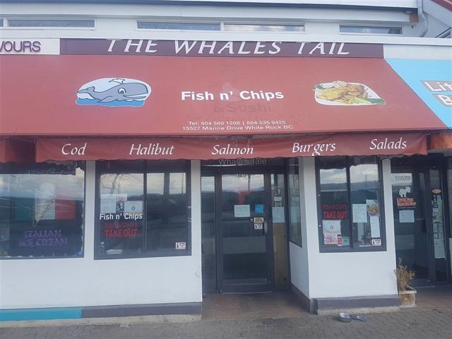 "White Rock Beach Fish and Chips for Sale! Established for 23 years! Whale's Tale Caf�. East beach location that serves a healthy alternative 'Pan Fried"" fish with baked fries! No Deep fryers!! Rent is incredible at only $1500/month all inc. Food primary liquor license and seats 23. City of White Rock just extended the patio size capability. Great opportunity!"