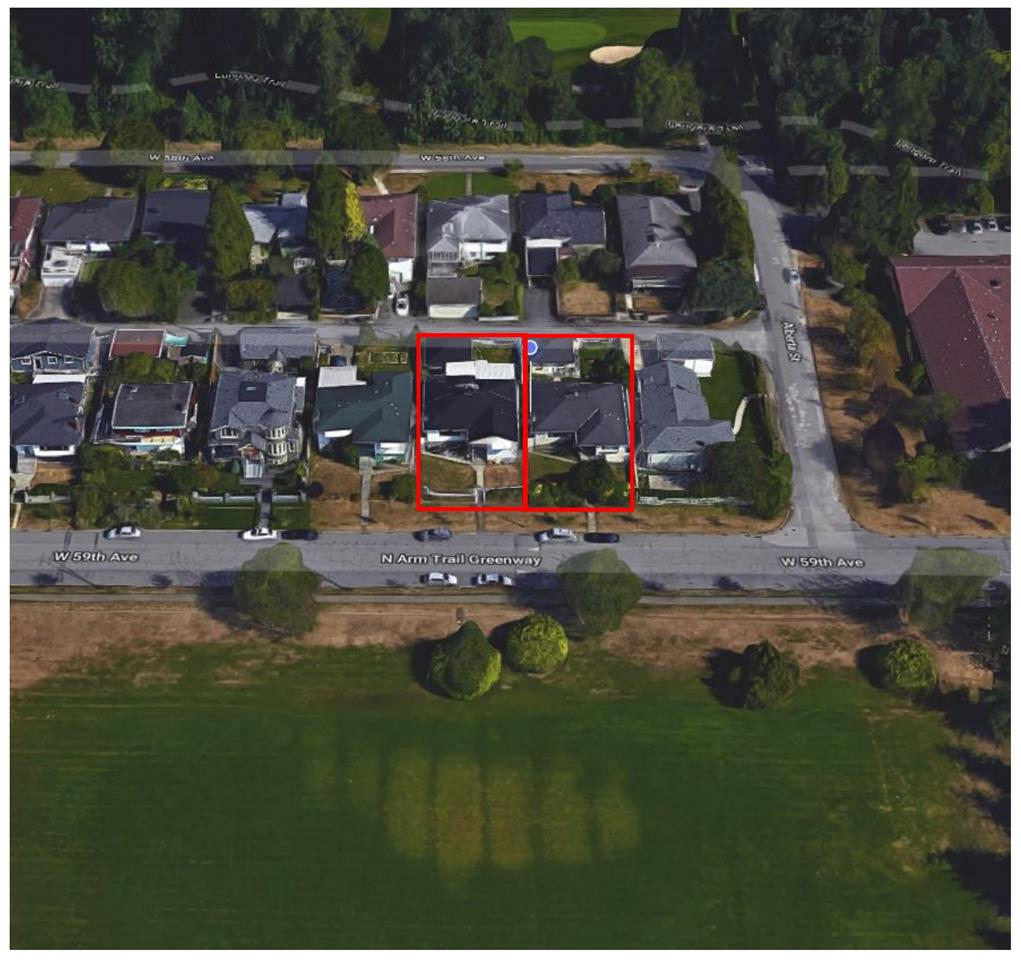 Premium development site with unobstructed park view. Land assembly in prime South Cambie area. Subject property is located within 300 meters of future Canada Line Station at Cambie and 57th Av. Under the Marpole Community Plan this property is designated for 6 storey development with a 2.5 FSR. 2 Lots listed with a potential of 3. Please call for details.