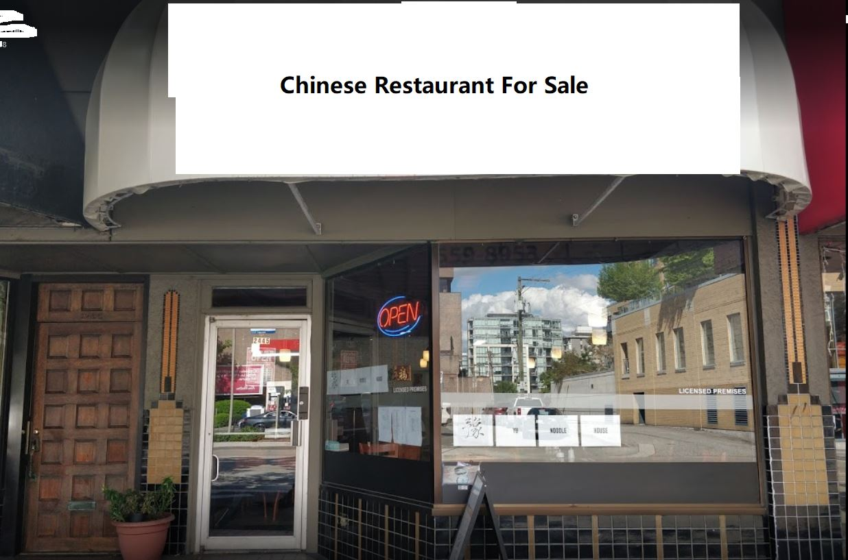 46 seat Chinese Restaurant on Burrard & Broadway. Fully vented commercial kitchen & liquor license. 930 sqft, Rent $2250, garbage and Lease term three years plus five year renewal option. Please contact agent with private viewing. Do not disturb staff. Showing by appointment only.