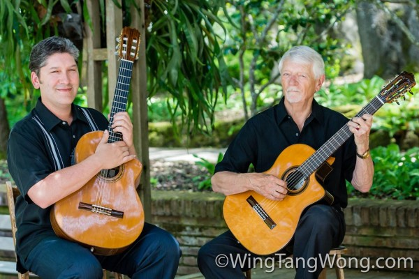 Photography of Ben & Jerry, local guitarists, performing at Filoli Gardens