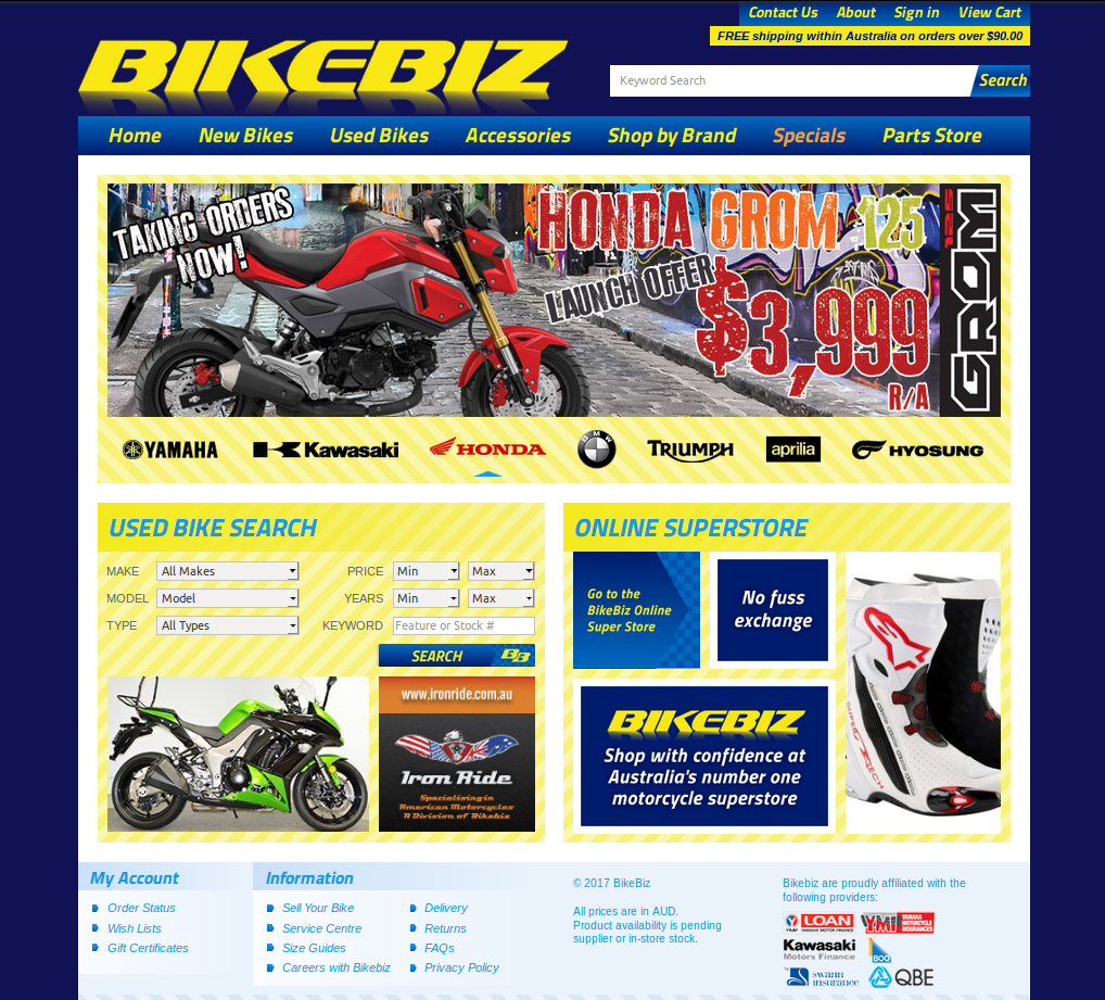Previous version of Bikebiz looked really outdated
