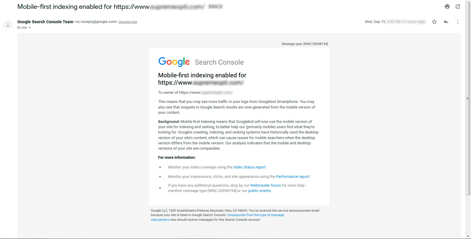 Mobile first index notification