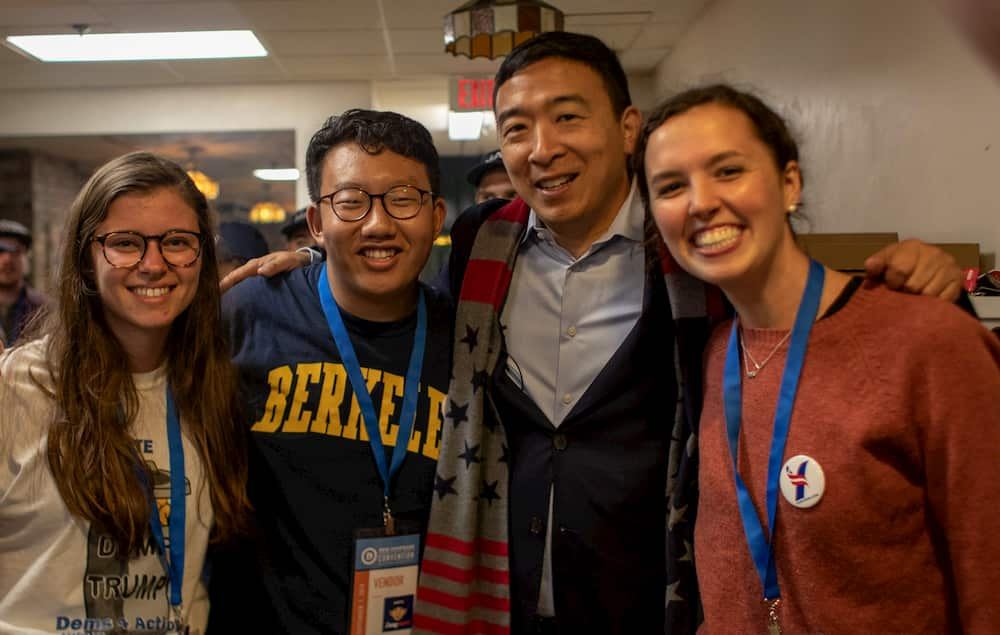 Andrew with three members of the Yang Gang in New Hampshire