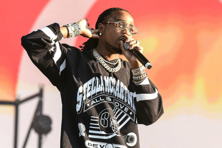 LONDON, ENGLAND - JULY 07: (EDITORIAL USE ONLY) Quavo of Migos performs on the Main Stage during Wireless Festival 2018 at Finsbury Park on July 7, 2018 in London, England.