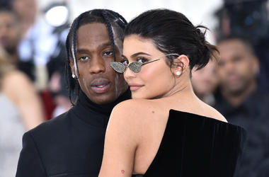 Travis Scott and Kylie Jenner walking the red carpet at The Metropolitan Museum of Art Costume Institute Benefit celebrating the opening of Heavenly Bodies : Fashion and the Catholic Imagination held at The Metropolitan Museum of Art in New York, NY, on M
