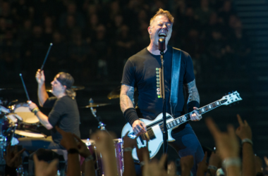 Metallica performing live on stage at Genting Arena in Birmingham, UK
