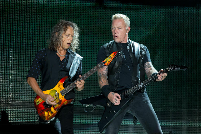 Kirk Hammett and James Hetfield of Metallica during WorldWired Tour on June 18, 2017