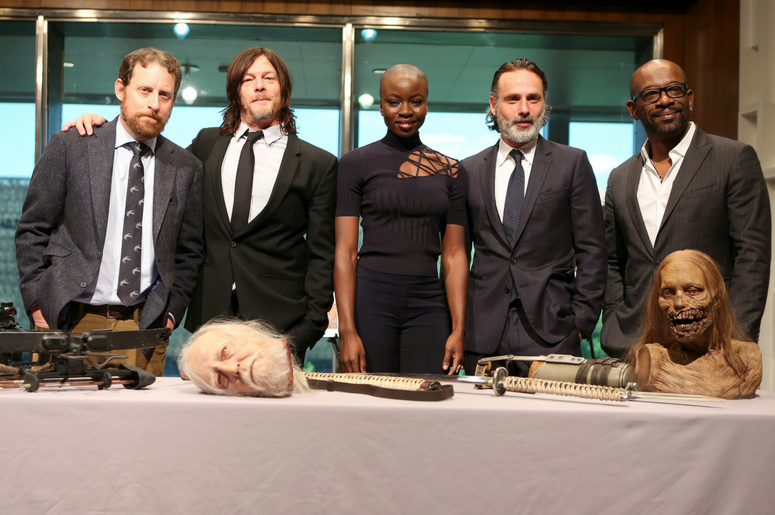 Scott M. Gimple, Norman Reedus, Danai Gurira, and Andrew Lincoln, Lennie James