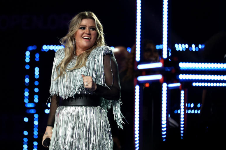 Kelly Clarkson performs during the opening night ceremony at Arthur Ashe Stadium