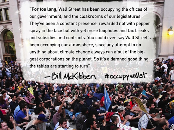 Bill McKibben quote on Occupy Wall St.