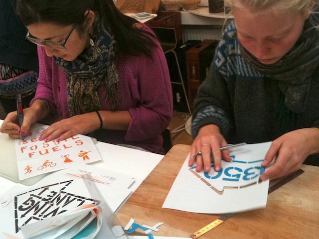 Making posters/stencils in Copenhagen, Denmark