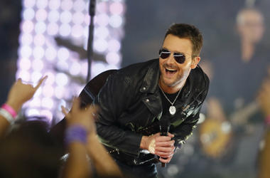 Eric Church performs during the halftime of the game between the Dallas Cowboys and the Washington Redskins at AT&T Stadium. Dallas won 31-26.