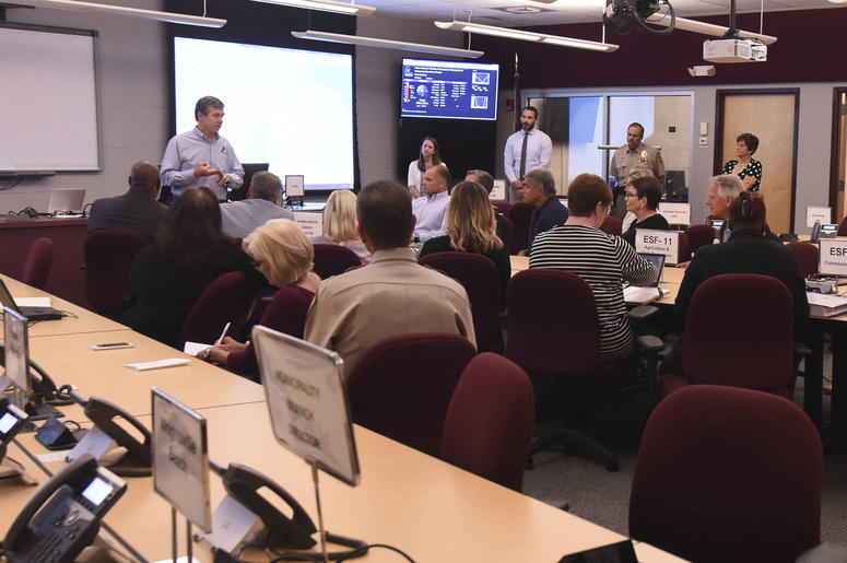 Governor Roy Cooper talks to emergency personnel local officials and members of the media about the ongoing Hurricane Florence preparation efforts in the Emergency Operations Center at the New Hanover County Administration Building In Wilmington, N.C. Sep