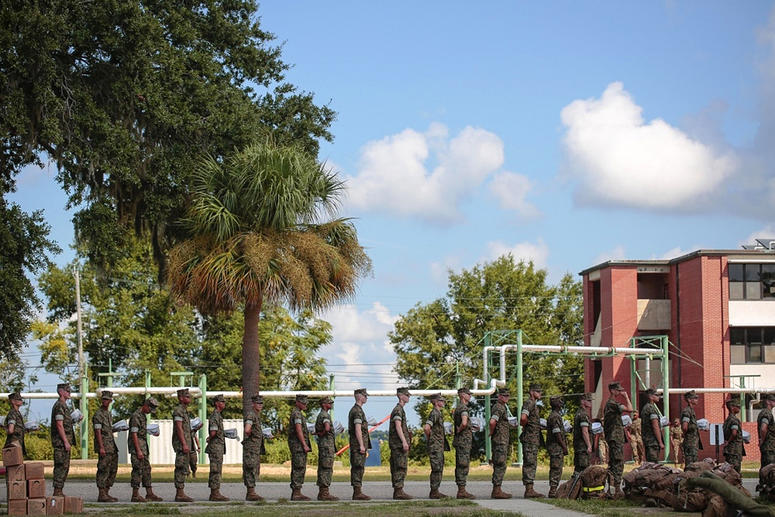 In this photo released by the U.S. Marine Corps, recruits at Marine Corps Recruit Depot Parris Island prepare to evacuate following an evacuation order directed by Brig. Gen. James Glynn, the depot's commanding general ahead of hurricane Florence. All Mar