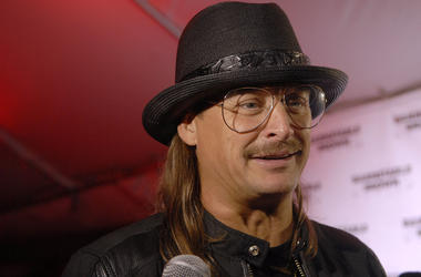 Recording artist Kid Rock talks with a reporter on the Barnstable Brown Derby