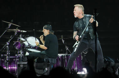 James Hetfield and Lars Ulrich of Metallica performing live on stage at Genting Arena in Birmingham, UK