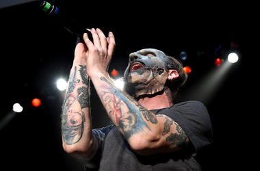 Singer Corey Taylor of Slipknot performs during the Ozzy Osbourne and Corey Taylor special announcement at the Hollywood Palladium on May 12, 2016