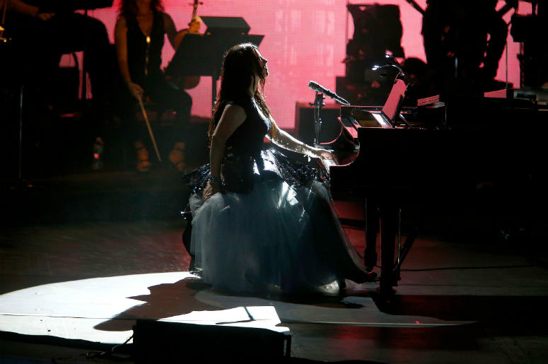 Amy Lee fronts Evanescence during their show at the PNC Bank Arts Center in Holmdel, NJ