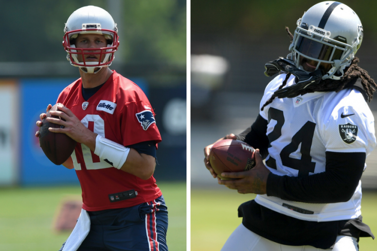 Tom Brady sets to throw a pass during minicamp at Gillette Stadium practice field / Marshawn Lynch (24) carries the ball during training camp at the Napa Valley Marriott.