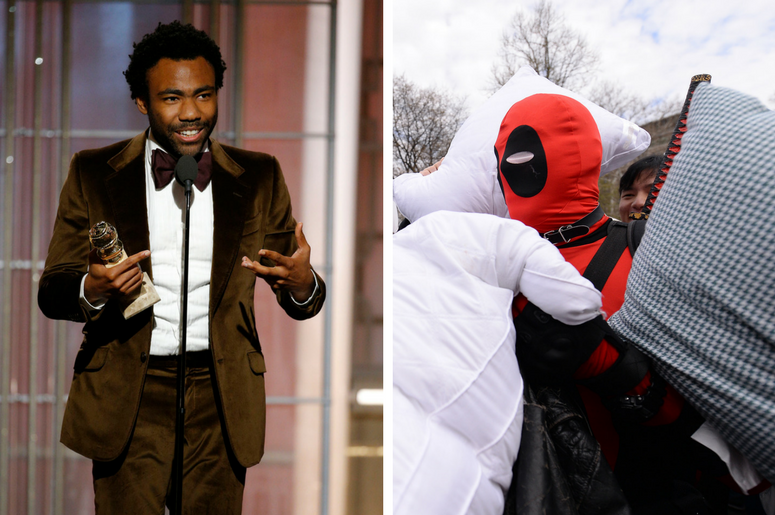 "Donald Glover wins best actor in a television series - musical or comedy during the 74th Golden Globe Awards / A man dressed as the comic character ""Deadpool"" is pummeled during the 7th Annual International Pillow Fight Day"