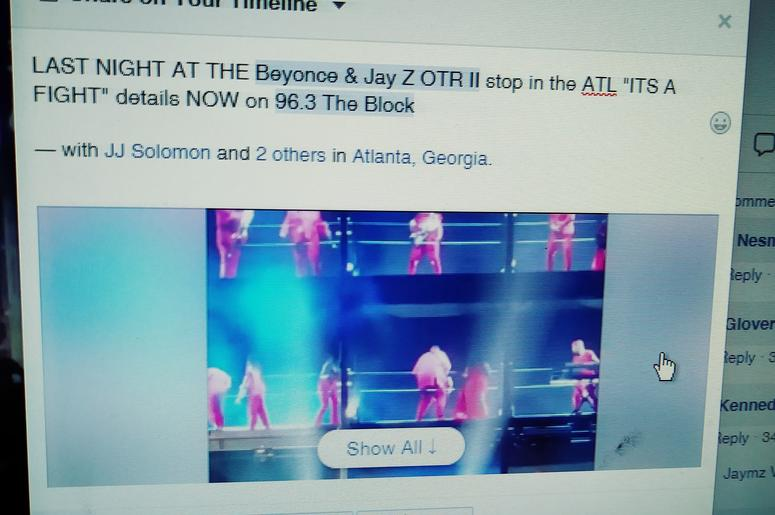 Its a FIGHT at the ATL stop Sat August 25th)  of the Bey Jay OTR II Tour