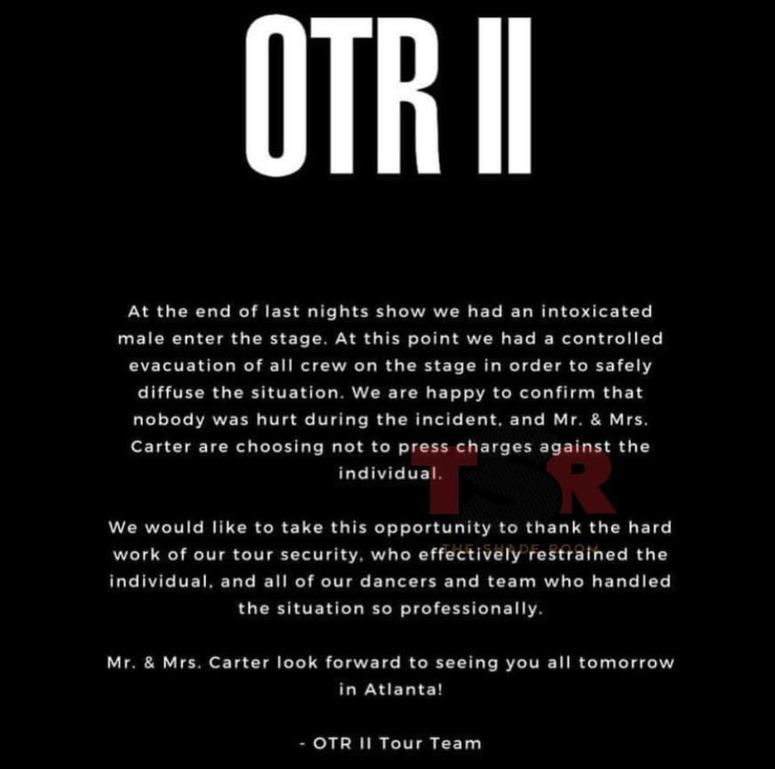 Statement about the stage incident at the Sat Aug 25th date of the OTR II Tour