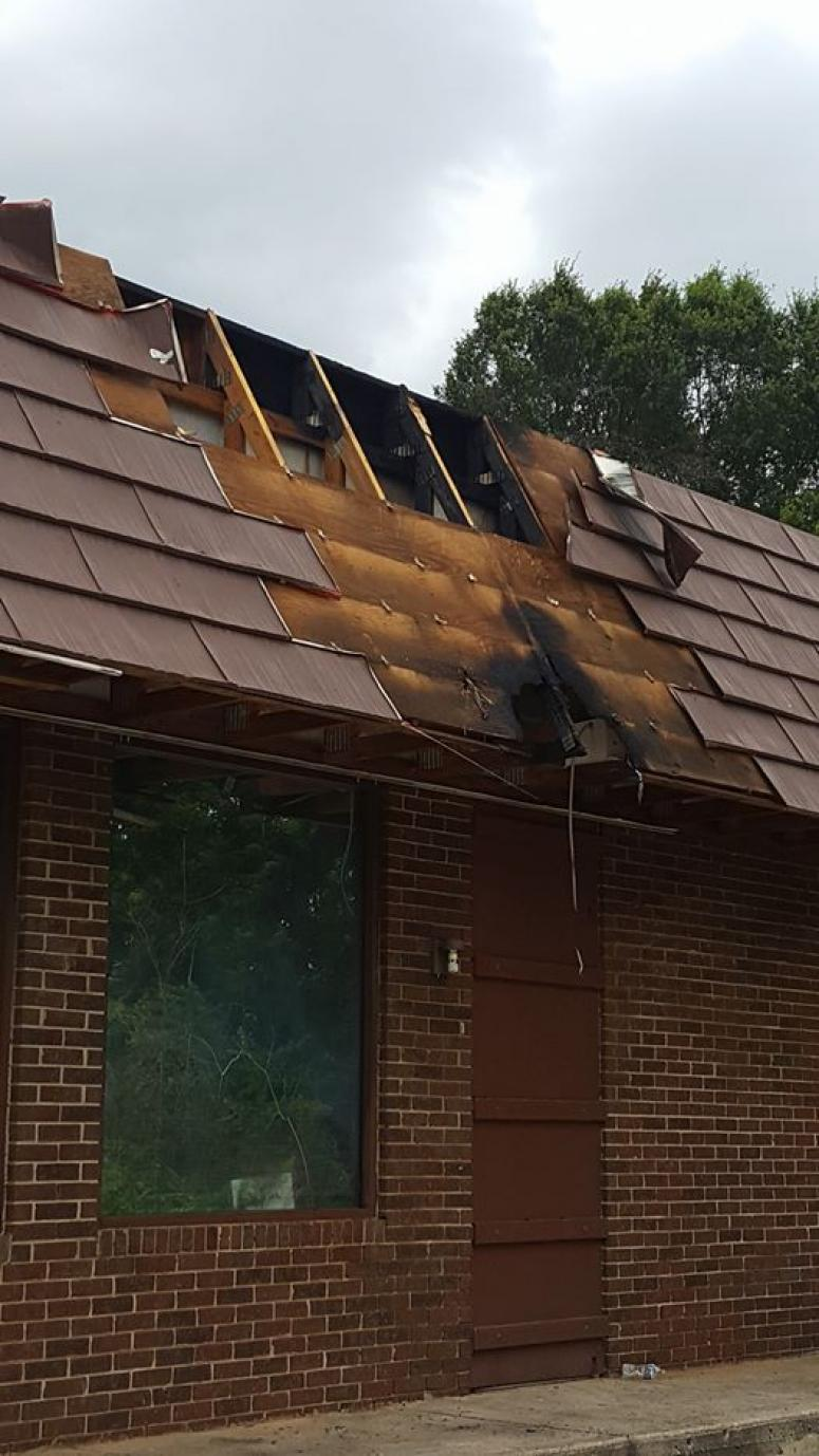 Fire burned thru the roof of Swagg Bar & Grill at 1418 White Horse Road in Greenville, South Carolina