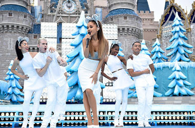 Ariana Grande performs 'Last Christmas' and 'Santa Tell Me' during the taping of the Disney Parks 'Frozen Christmas Celebration' TV Special