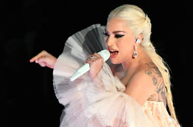 Lady Gaga performs Joanne / Million Reasons during the 60th Annual Grammy Awards at Madison Square Garden.